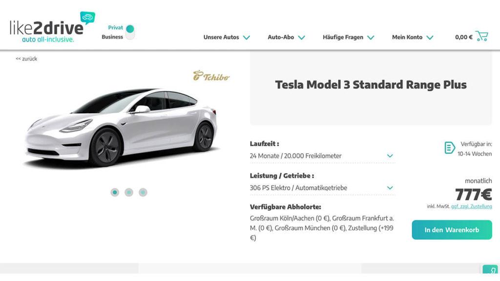 Tesla Model 3 Tchibo-Leasing