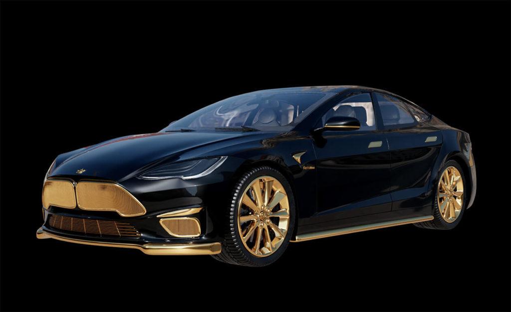 Tesla Model S Plaid mit Goldverzierungen von Luxusmarke Caviar