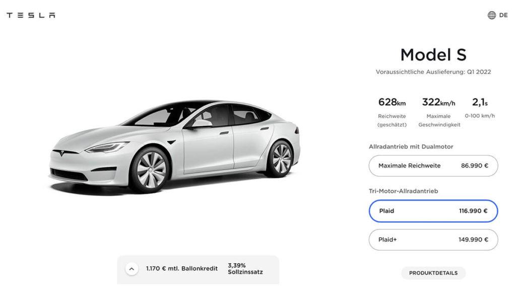 Tesla Model S Plaid: Lieferung im ersten Quartal 2022