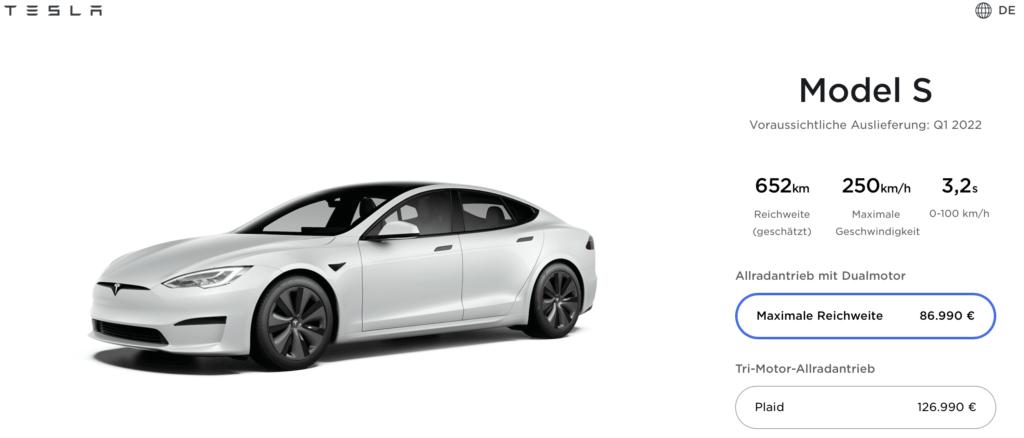 Tesla reduziert die Reichweite des Model S Long Range