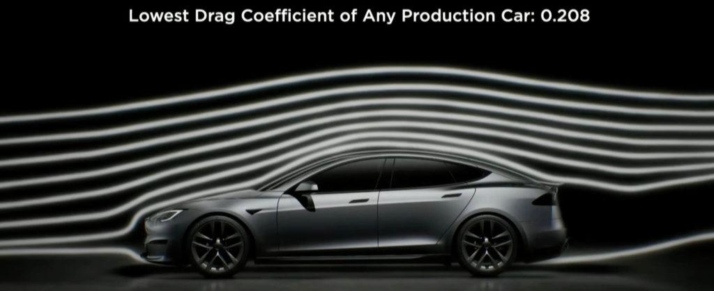 Tesla Model S Plaid hat laut eigenen Angaben des Herstellers beste Aeorodynamik aller Serienautos