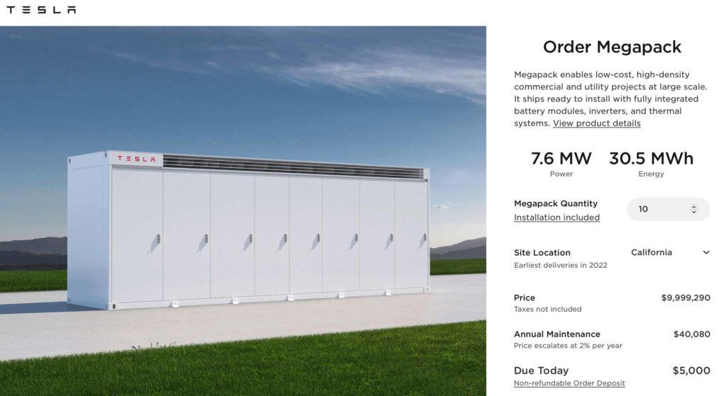 Tesla Megapack: Preis und Leistungsdaten des Energiespeicherprodukts im Online-Konfigurator