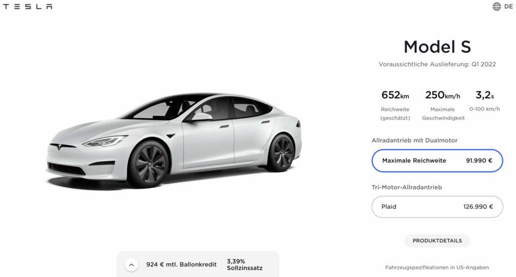 Tesla Model S: Der Konfigurator gibt nun das erste Quartal 2022 als Auslieferungszeitraum an. Quelle: Tesla