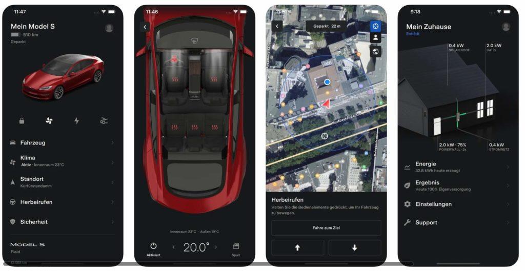 Tesla-App Version 4.0 – überarbeitete Benutzeroberfläche und zusätzliche Funktionen. Bildquelle: Apple App Store