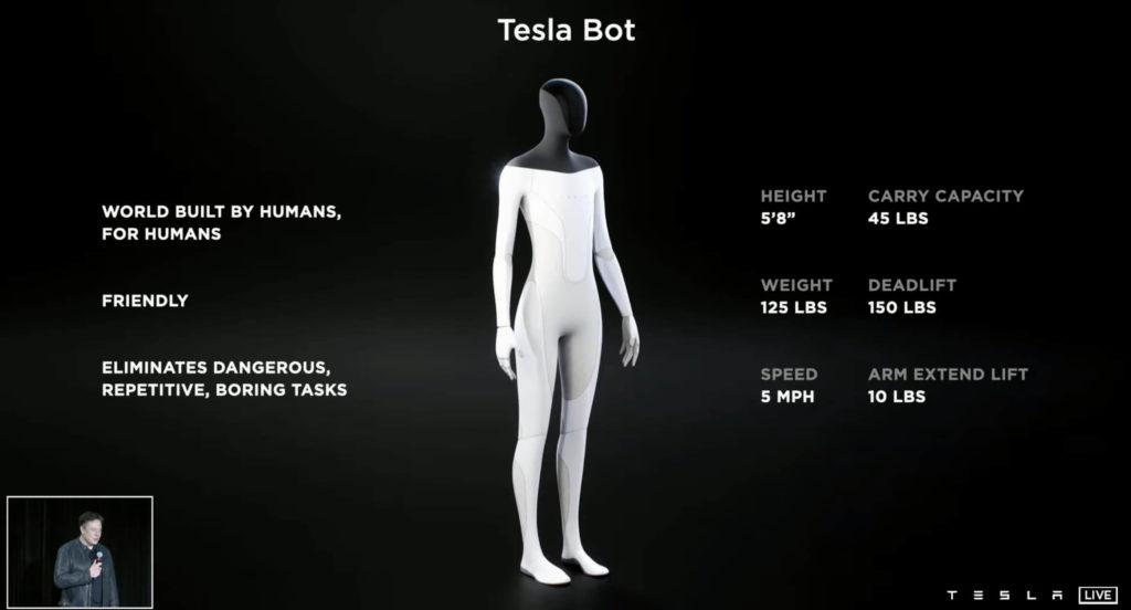 Tesla Bot: Spezifikationen