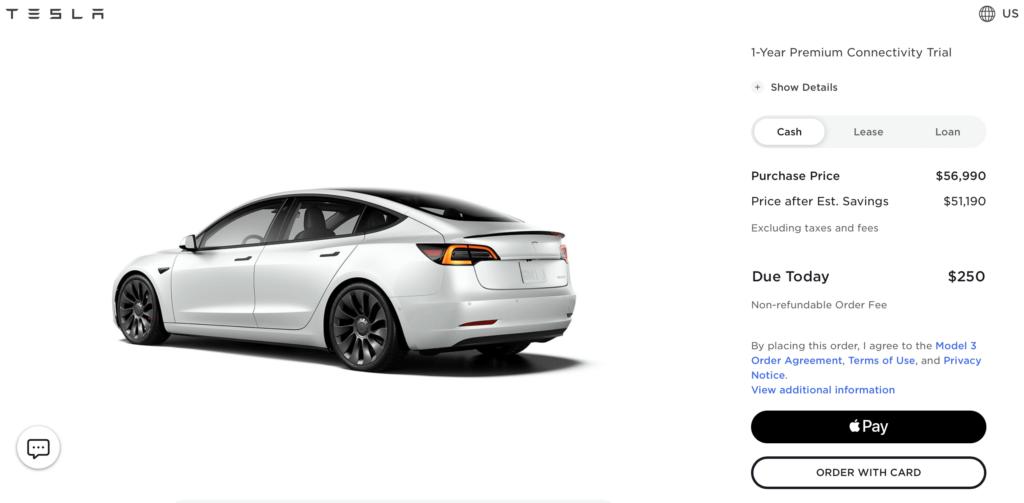 Nicht erstattungsfähige Bestellgebühr im Tesla-Konfigurator auf 250 Dollar erhöht