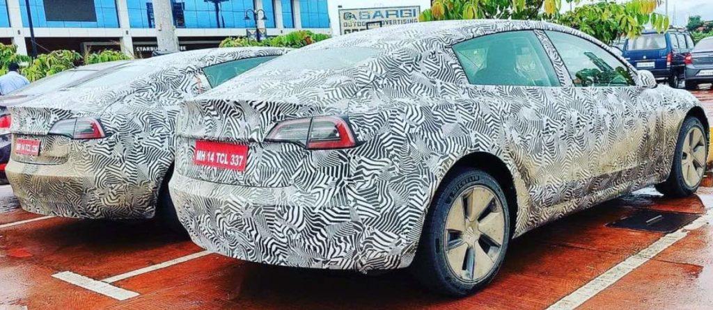 Tesla Model 3 im Camouflage Look gesichtet in Indien