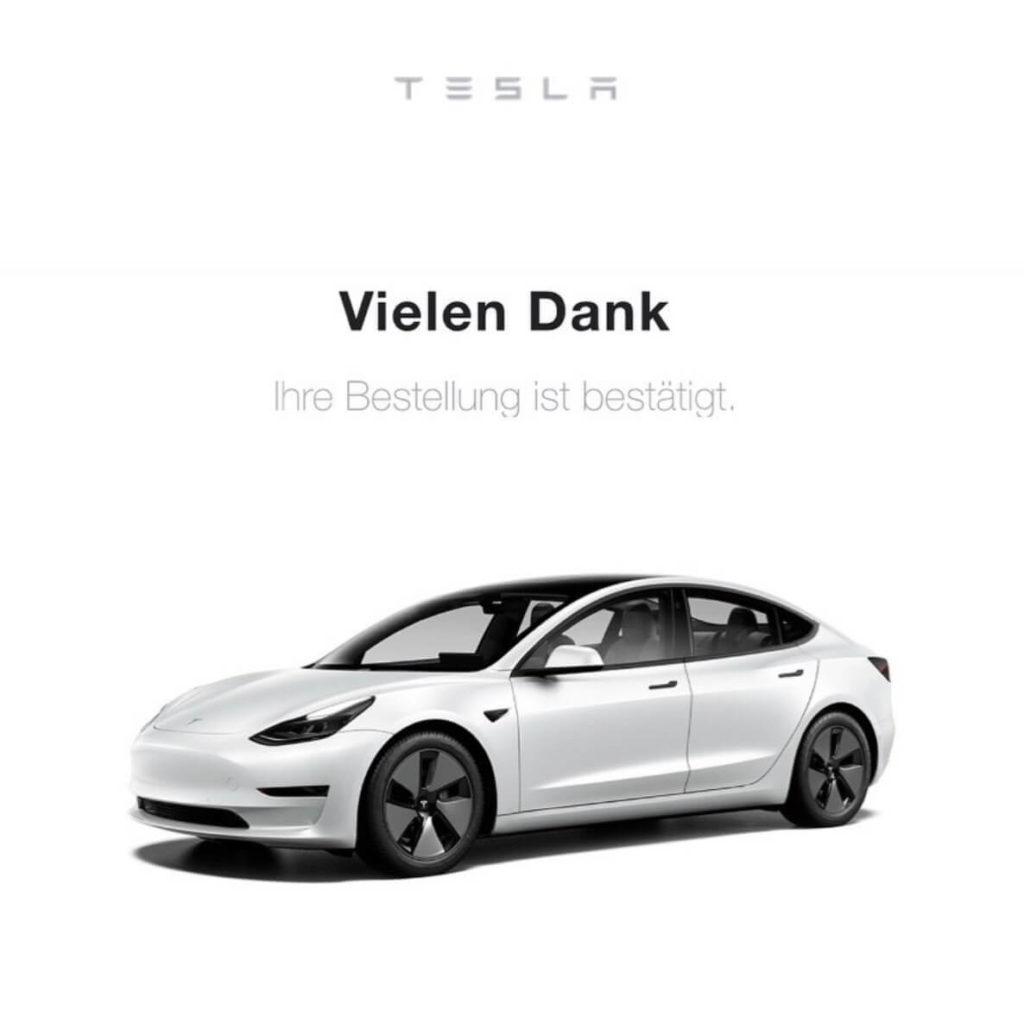Tesla Model 3: Bestellbestätigung