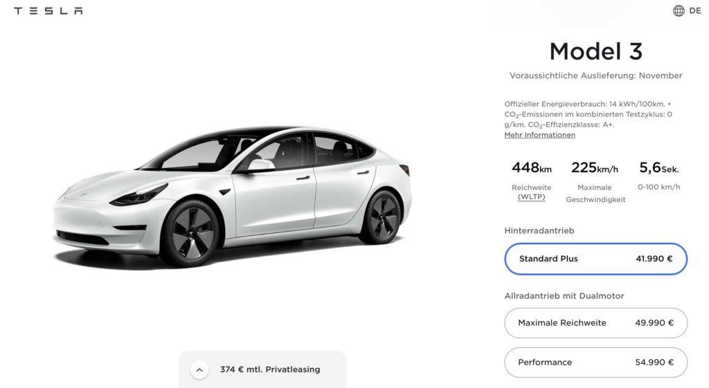 Tesla Model 3: Preiserhöhung im Konfigurator
